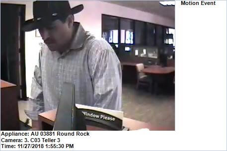 Round Rock police search for bank robbery suspect