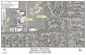 Pavement work scheduled on Texas Avenue