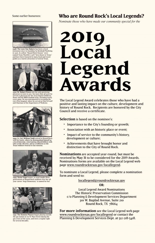 Help select the 2019 Local Legends