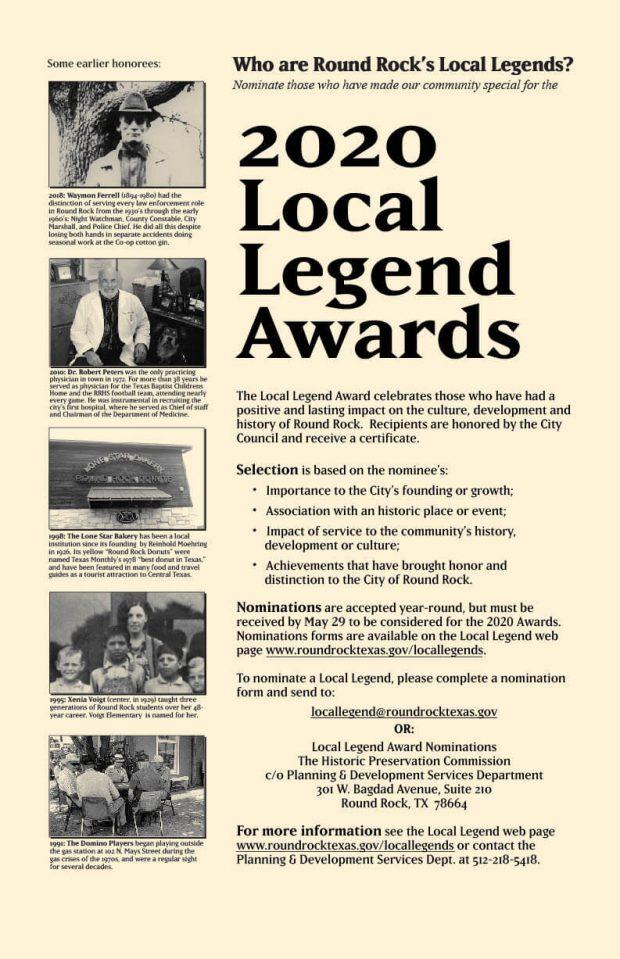 Nominate Round Rock's 2020 Local Legends